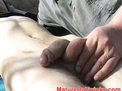 Twink cums from a blowjob