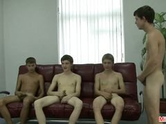 Gay group sex on touching lusty wankings