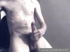 Crazy bare bf milking off on web cam