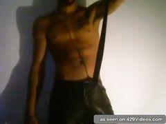Magnificent jock stroking in his bedroom