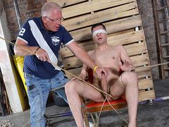 Strung Up Fresh Arrival Mason Gets Wanked - Mason Madison & Sebastian Kane